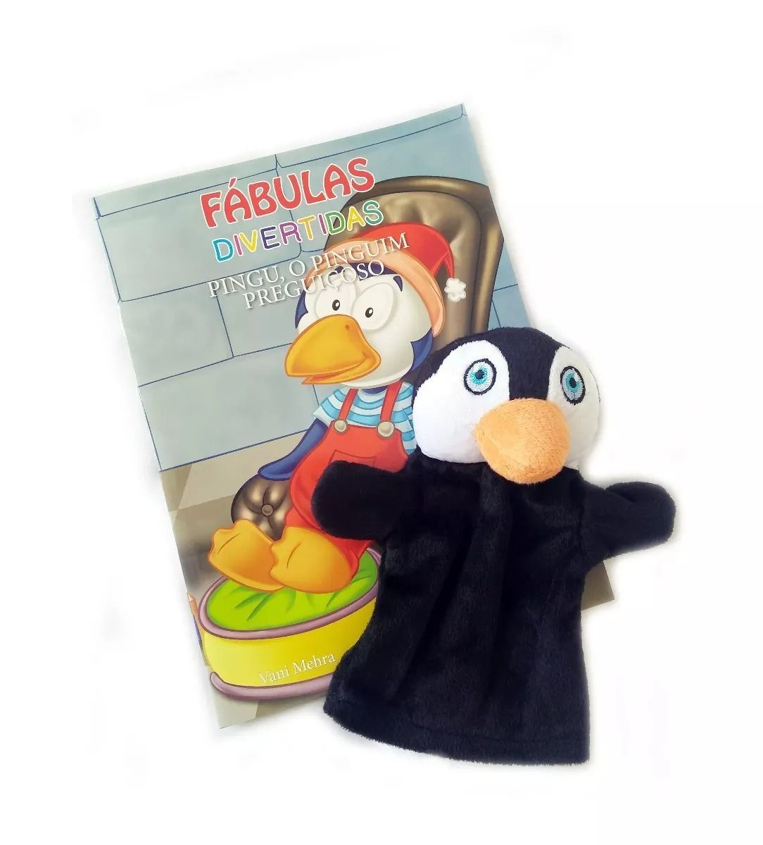 Livro Fantoche - Fábulas Divertidas - Pingu, o Pinguim Preguiçoso  - Gutana Brinquedos