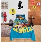 Jogo De Cama Solteiro 150 fios 3 peças Disney Mickey Aventuras sobre Rodas Lepper