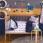 Jogo de Lençol de Berço Linha Baby 100% algodão 3 Peças Mariner Azul Santista
