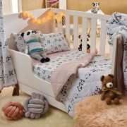 Jogo de Lençol de Berço Linha Baby 100% algodão 3 Peças Panda Rosa Santista