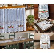 Kit de Cozinha em renda Cortina e acessórios 5 peças Valência Interlar