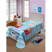 Manta Microfibra Soft Solteiro Disney Frozen 2 Azul Claro Jolitex