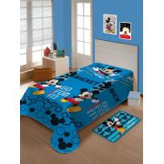 Manta Microfibra Soft Solteiro Disney Mickey Fun Azul Claro Jolitex