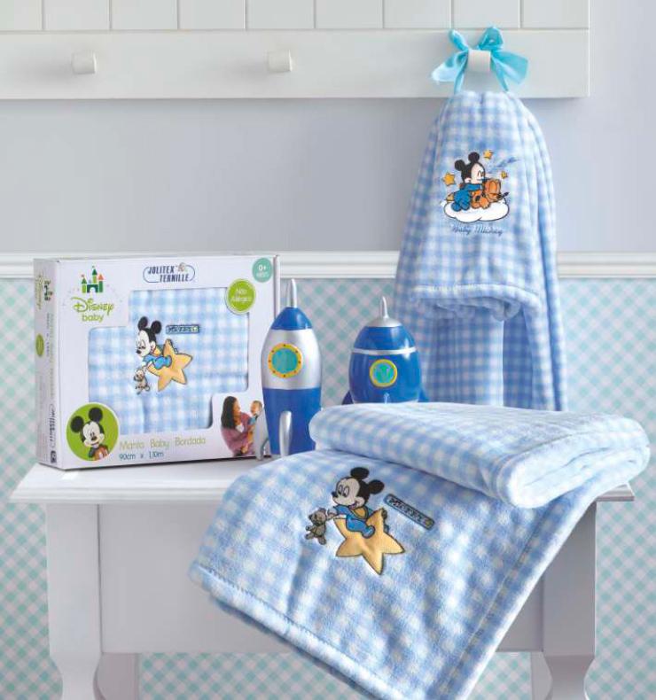 3187e25848 Manta Microfibra Bordada Disney Baby Mickey Azul Jolitex - KM Enxovais ...