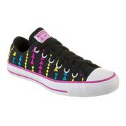 TÊNIS CONVERSE ALL STAR CT AS EMBROIDERY OX PRETO VIOLETA FLORAL BRANCO