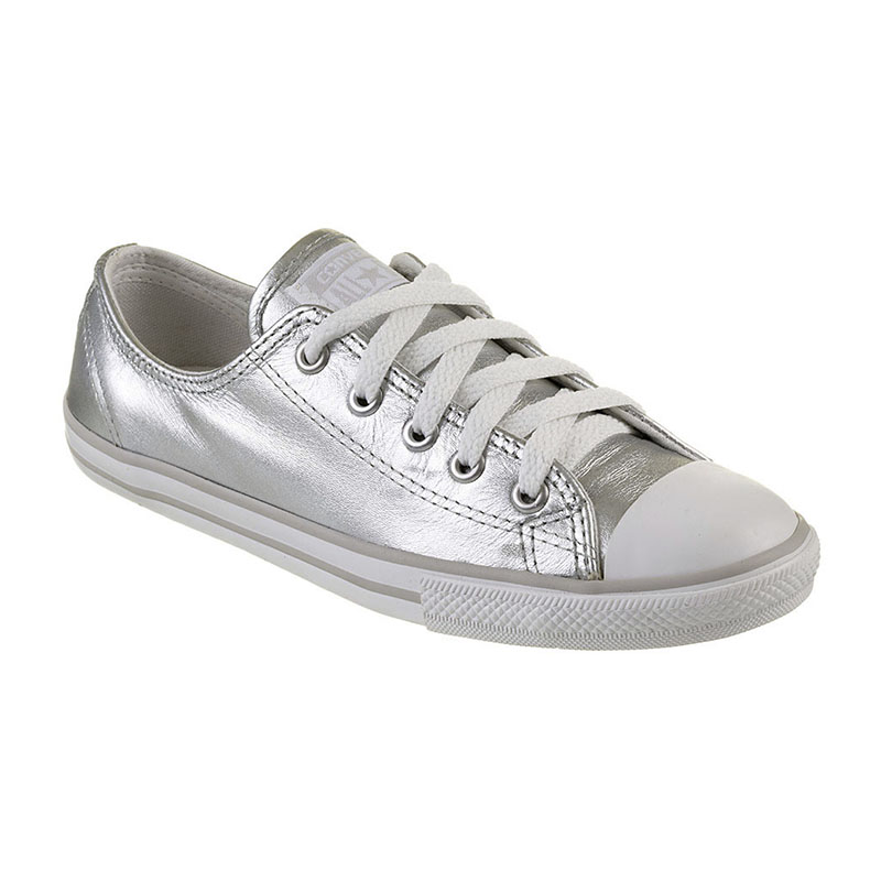 e73eb02460 TÊNIS FEMININO CONVERSE ALL STAR CT AS DAINTY LEATHER OX SILVER - CE913114  - OurShoes