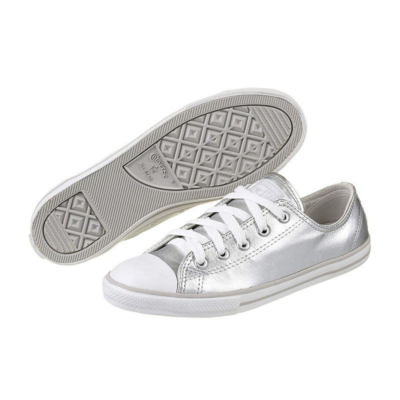 TÊNIS FEMININO CONVERSE ALL STAR CT AS DAINTY LEATHER OX SILVER - CE913114