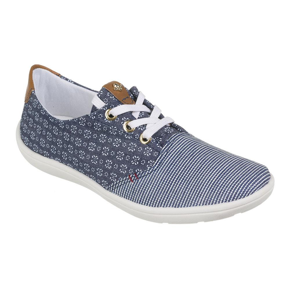 Tênis Cravo & Canela Tecido Jeans Floweblue Jeans Strip Azul / Cru Vegetal Whisky