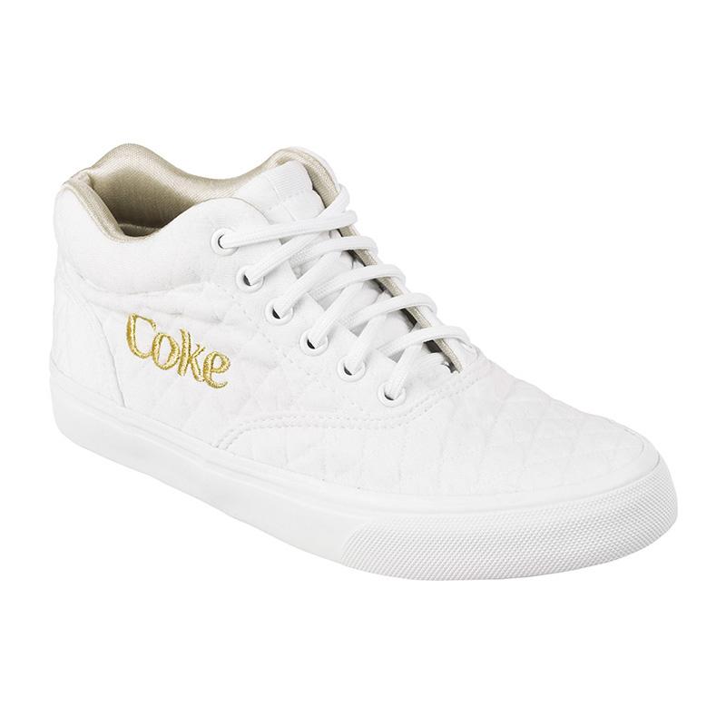 Tênis Coca-Cola Valencia Matelasse Branco/Dourado