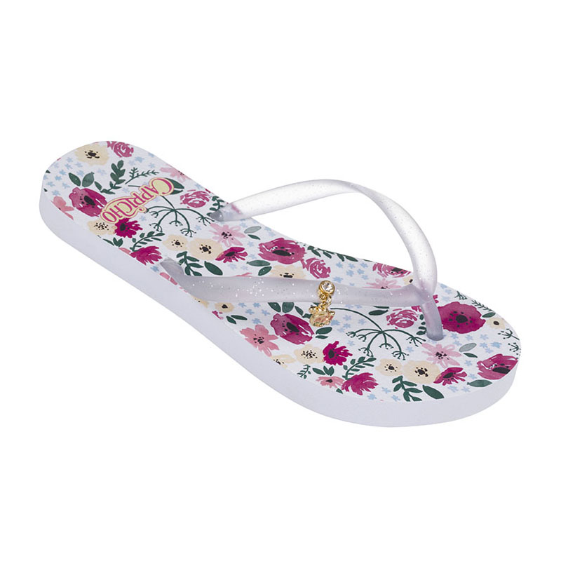 Chinelo Capricho Royal Flowers Branco Cristal