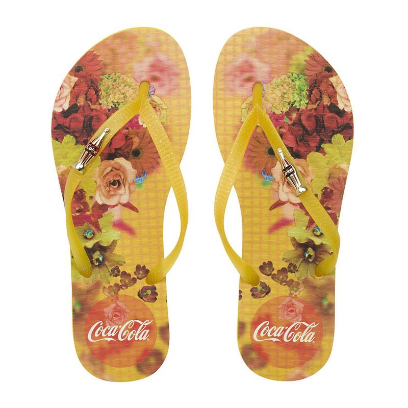 Chinelo Coca-Cola Flower Blur Amarelo/Amarelo