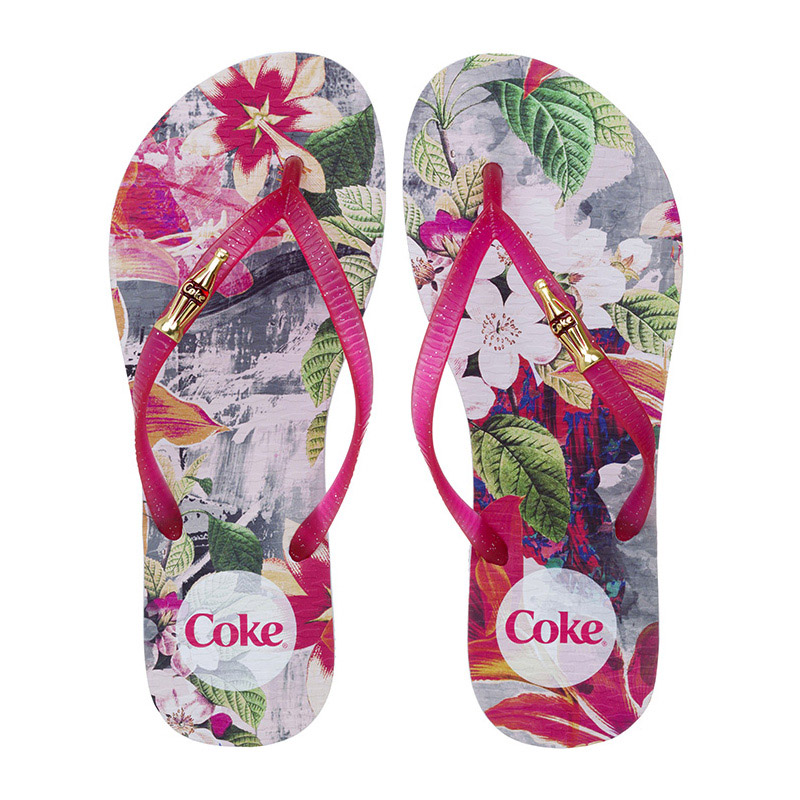 CHINELO COCA-COLA FOREST BRANCO/PINK