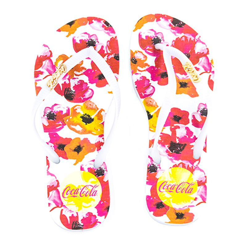 Chinelo Coca-Cola Flowering Branco Branco