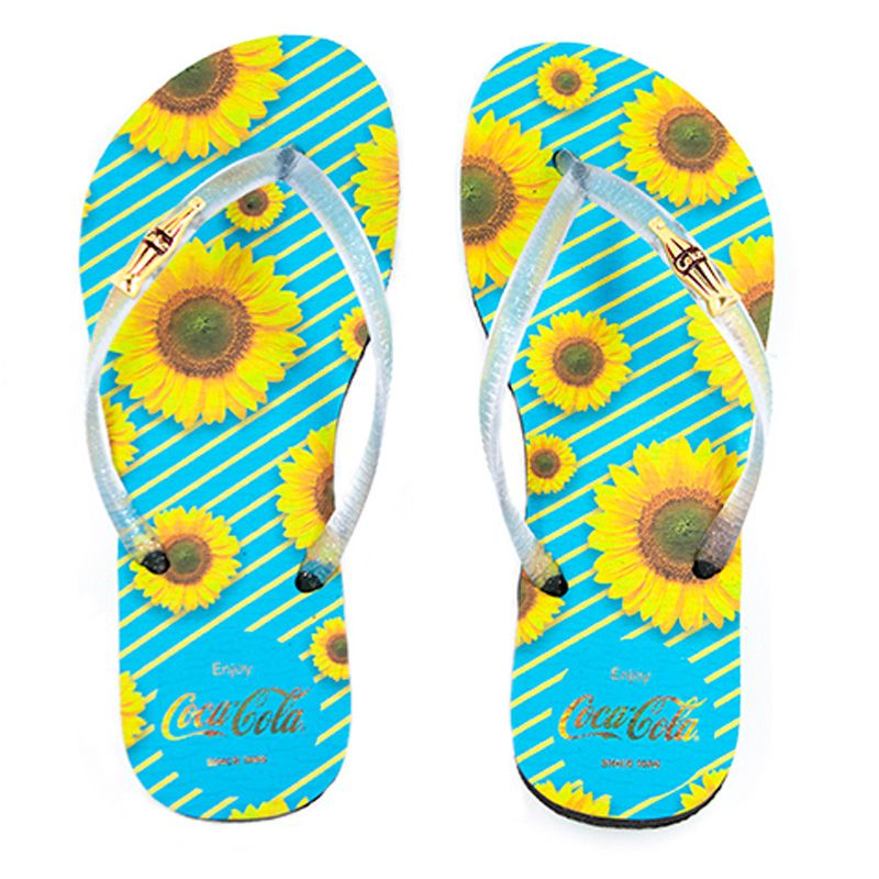 Chinelo Coca-Cola  Sunflowers Preto Cristal