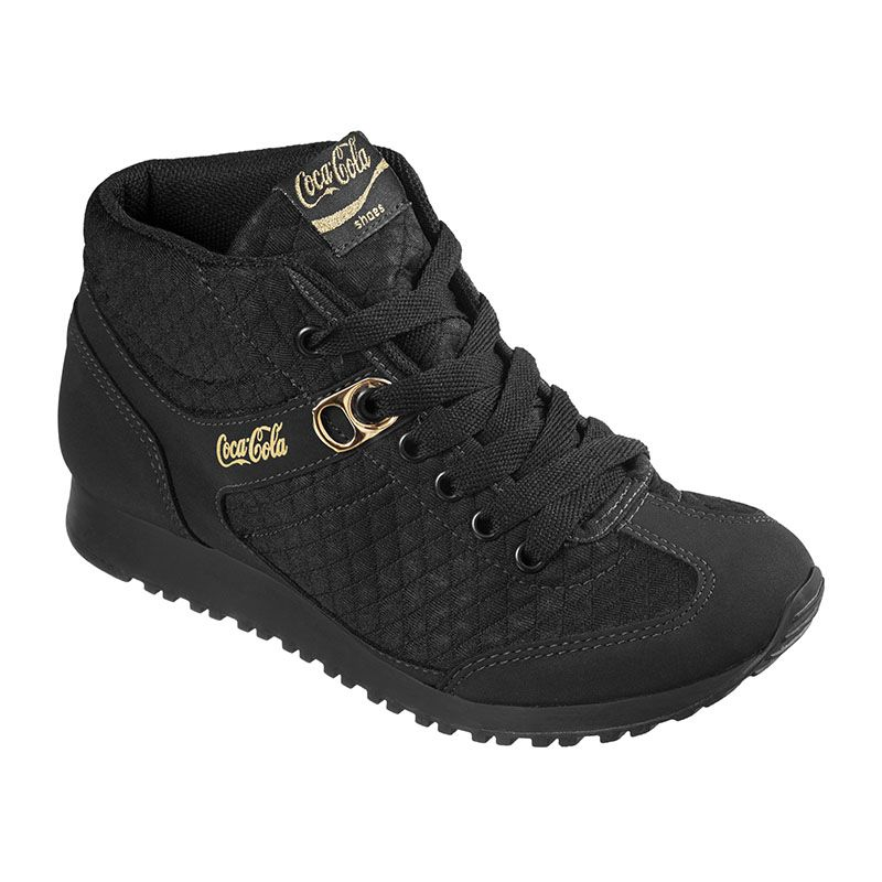 TÊNIS FEMININO COCA COLA PLACE MATELASSE ALL BLACK - CC1406