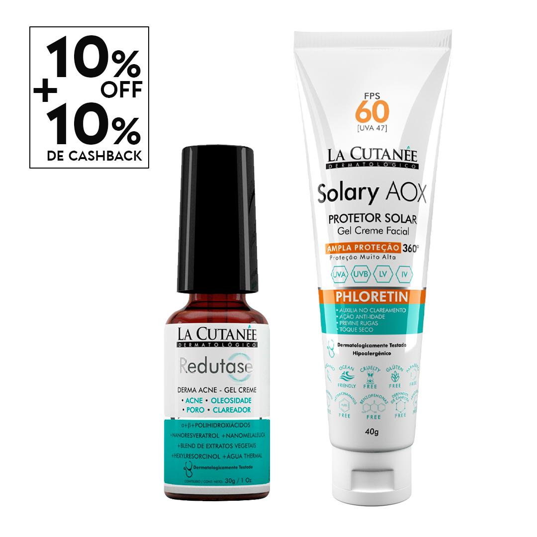 KIT Redutase Derma Acne+ Solary AOX FPS 60 S/ COR