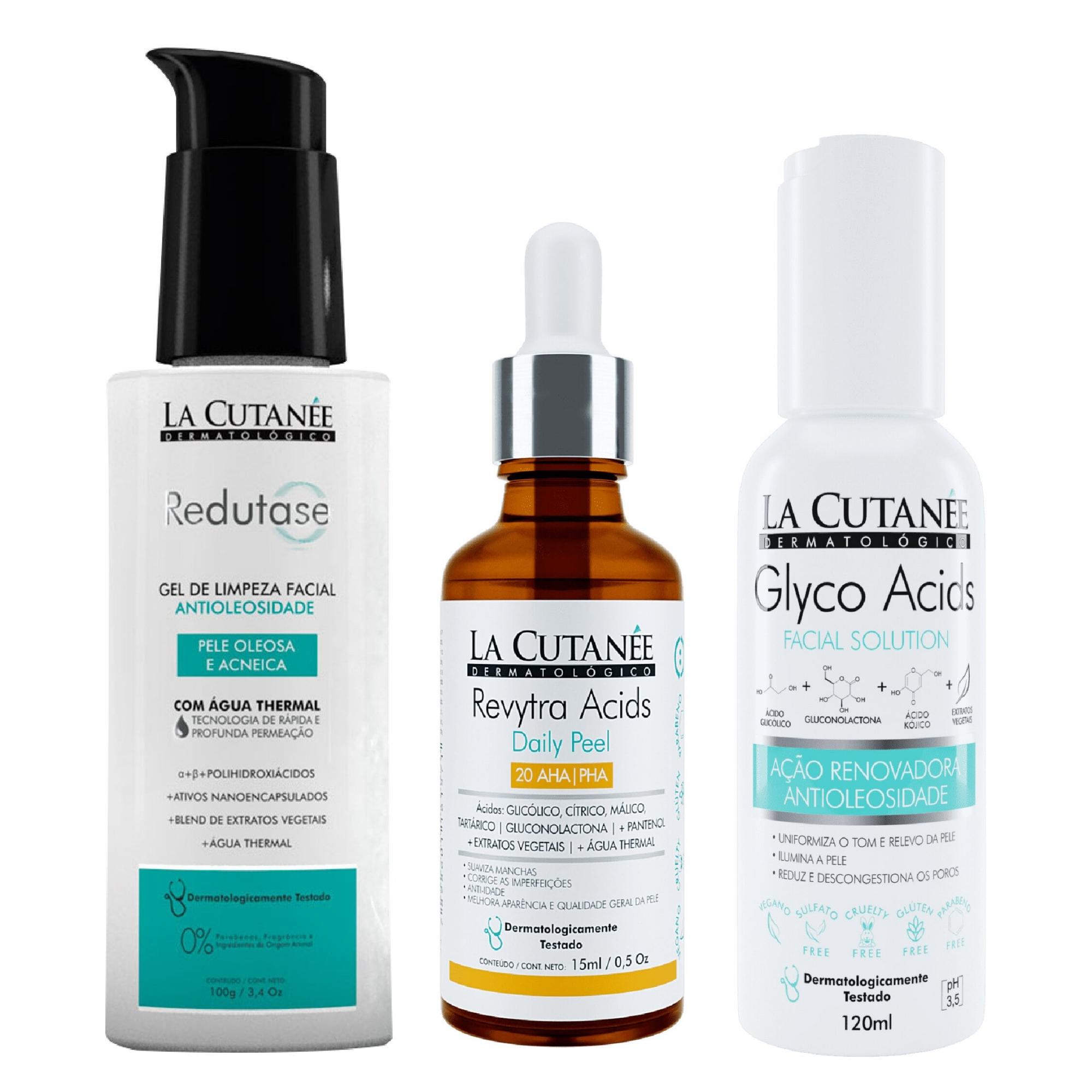 Rotina SkinCare Pele Oleosa e Acneica- Gel de limpeza Redutase+ Glyco Acids+ Revytra Acids