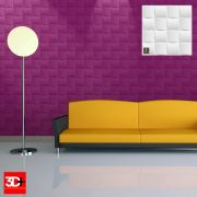 Revestimento 3D De Parede PSAI Poliestireno Alto Impacto 50 x 50 Modelo Murano Branco