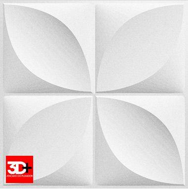 Revestimento 3D De Parede PSAI Poliestireno Alto Impacto 50 x 50 Modelo Florata Branco  - Revestimento 3D