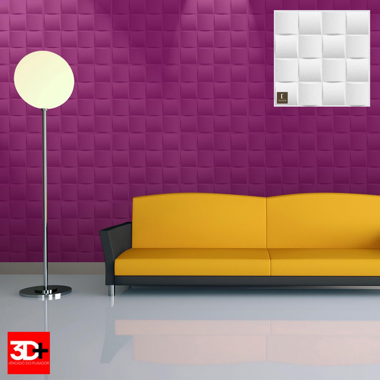 Revestimento 3D De Parede PSAI Poliestireno Alto Impacto 50 x 50 Modelo Murano Branco  - Revestimento 3D