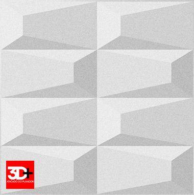 Revestimento 3D De Parede PSAI Poliestireno Alto Impacto 50 x 50 Modelo Prisma Branco  - Revestimento 3D