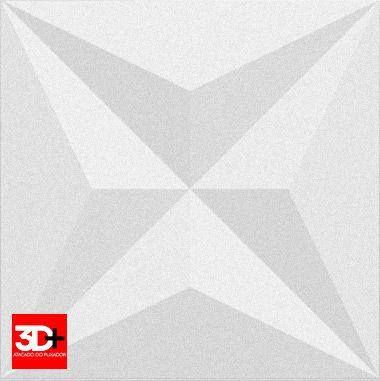 Revestimento 3D De Parede PSAI Poliestireno Alto Impacto 50 x 50 Modelo Star Branco  - Revestimento 3D