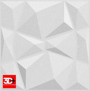 Revestimento 3D De Parede PSAI Poliestireno Alto Impacto 50 x 50 Modelo Triangulato Branco  - Revestimento 3D