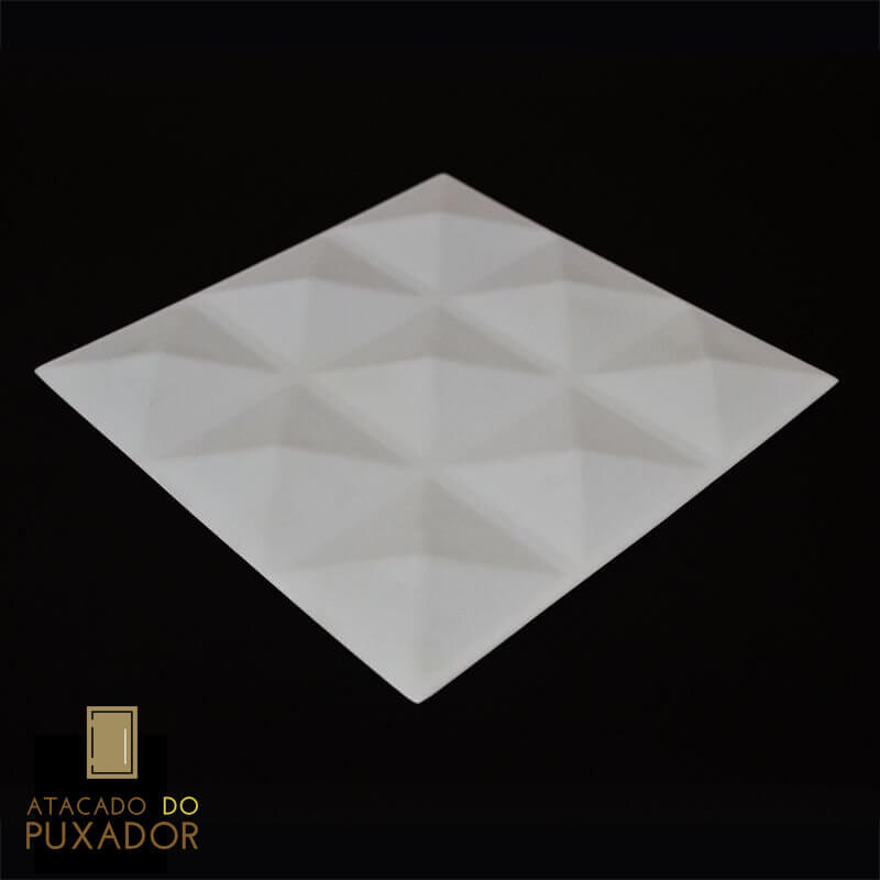 Revestimento 3D De Parede PSAI Poliestireno Alto Impacto 50 x 50 Modelo Creta Branco  - Revestimento 3D