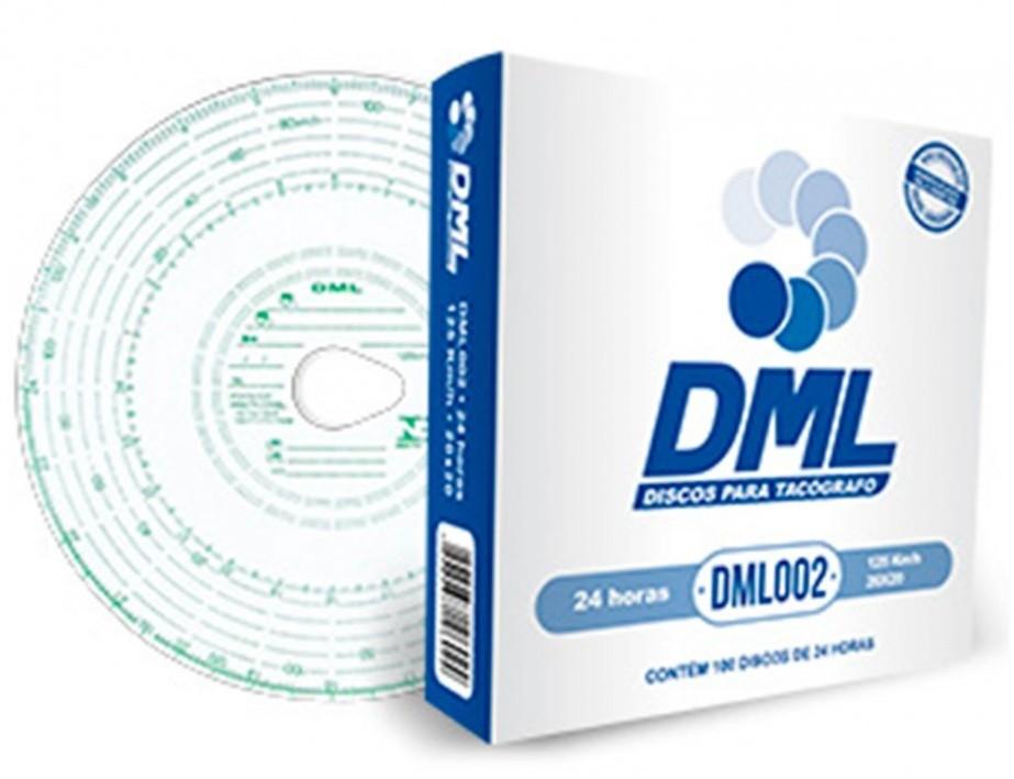 Disco Tacógrafo Diário 24h 125 Km/h (100 Unidades) DML