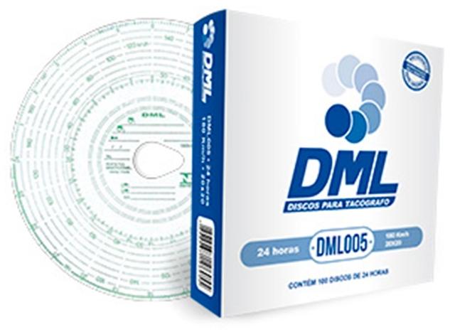 Disco Tacógrafo Diário 24h 180 km/h (100 Unidades) DML