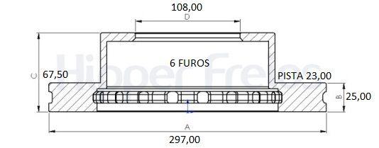 Disco Freio Dianteiro Ventilado Hilux SR Turbo 3.0 05/..C/6 furos(Par)