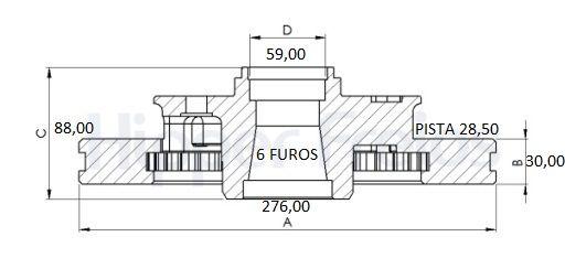 Disco Freio Dianteiro Ventilado S10 Blazer 4X2 95/97 C/ 6 furos (Par)