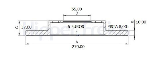 Disco Freio Traseiro Solido Corolla 1.8 16V 08/... 2.0 16V 10/...(Par)