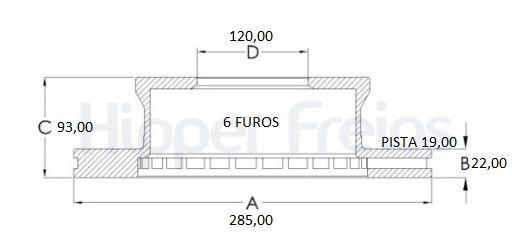 Disco Freio Traseiro Sprinter 313 412 413 /06 C/6 furos Ventilado -Par