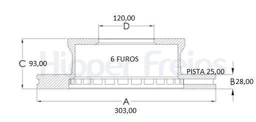 Disco Freio Traseiro Sprinter 413 415 515 06/..6 furos Ventilado (Par)