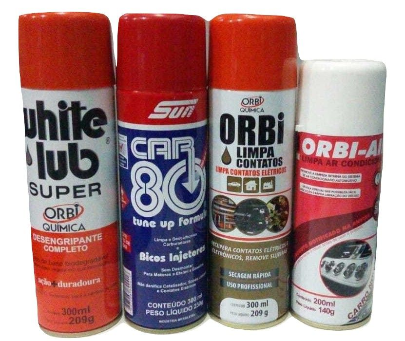 Kit Química  (Car80 / White Lub / Orbi-Air  /Limpa Contato)