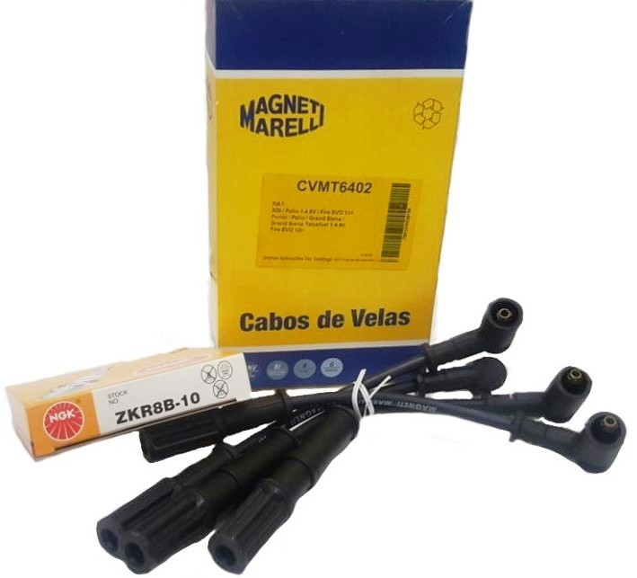 Kit Cabos+Velas Novo Palio 1.4 Evo Novo Uno 1.4 Evo Magneti+NGK