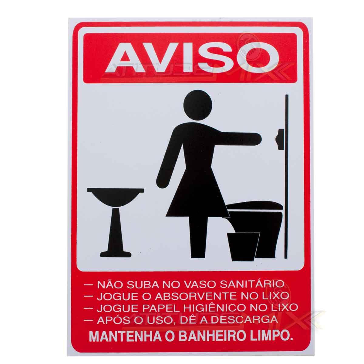 Placa Aviso Advertência Banheiro Feminino -> Avisos Banheiro Feminino