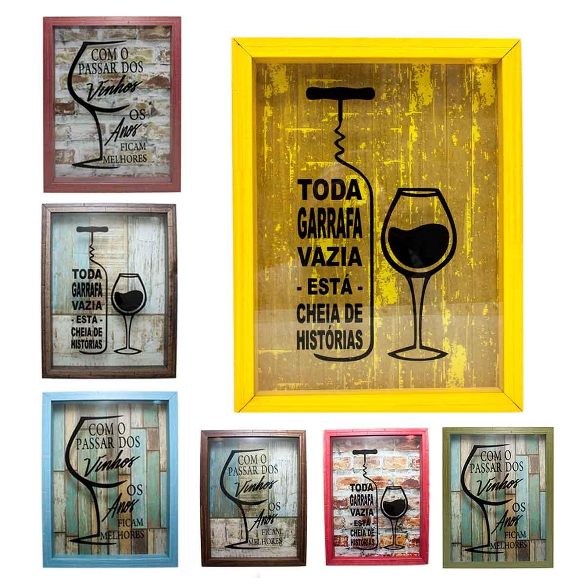 Quadro porta rolha vinho madeira mdf decora o 42x32cm for Decor 1 32