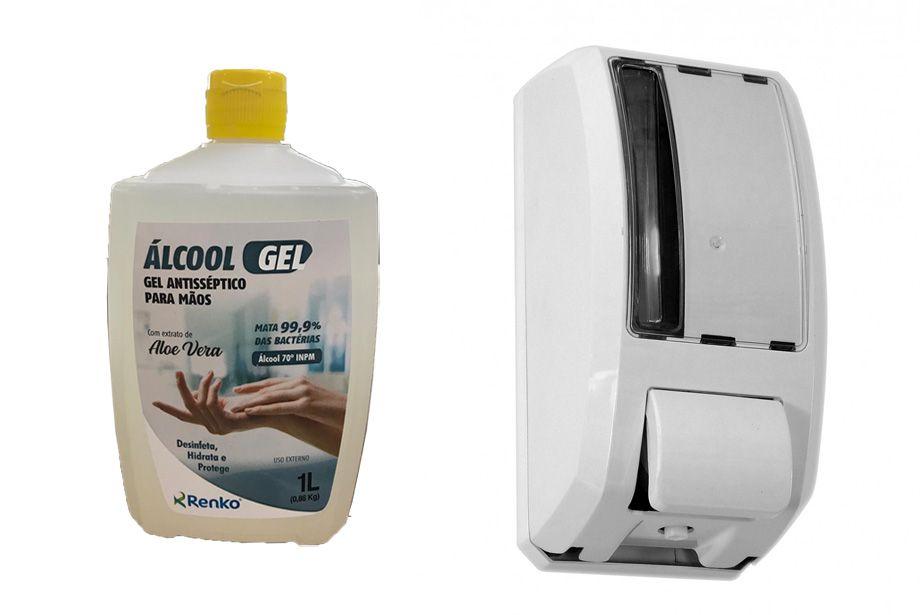 Dispenser C/ Reservatório Para Álcool Gel + Álcool Gel 1L Renko