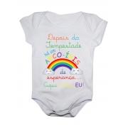 Body Bebê Arco Iris de Esperança Bodie Aqui Estou