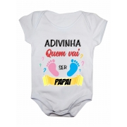 Body de bebê manga curta adivinha quem vai ser papai