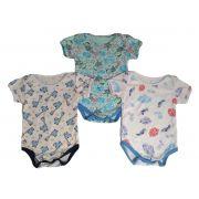 Body de bebê manga curta algodão estampado Kit com 3 peças