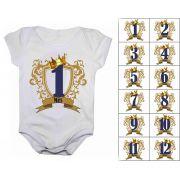 Body de bebê mesversario números com coroa - Kit 12 bodies