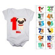 Body Mesversario Cachorrinhos Kit com 12 Bodies de Bebê