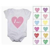 Body mesversario corações Kit 12 bodies de bebê