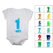 Kit body mesversario manga curta números chapéu 12 bodies de bebê 1 a 12 meses