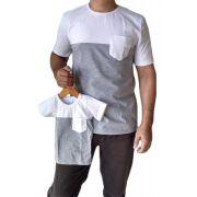 Camiseta adulta e infantil masculina com bolso tal pai tal filho