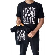 Camiseta adulta e infantil masculina guitarras Tal pai tal filho