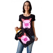 Camiseta Adulta e Infantil Porquinha Tal Mãe Tal Filha